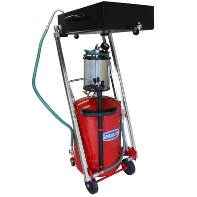 Fahrbares Altölauffang- / Altölabsauggerät - Glassmesszylinder - 100 L Behälter