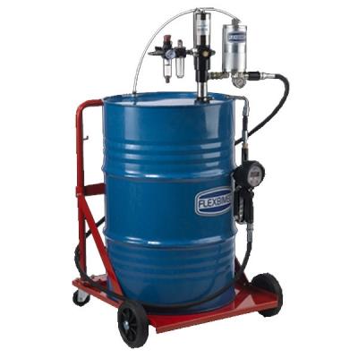 Mobiles Öl-Abgabeset - mit Druckluft Ölpumpe (3:1) - für 208 l Fässer - mit Fahrwagen